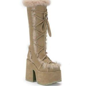 Demonia high boots with rabbit fur